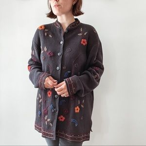 COLDWATER CREEK   Black Floral Embroiderd Cardigan